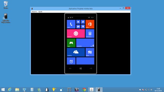 Windows Phone pode ter tela projetada no computador de forma rápida e simples (Foto: Reprodução/Helito Bijora)