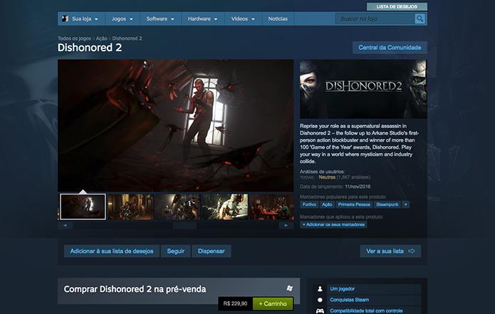 Adicione o Dishonored 2 no carrinho do Steam (Foto: Reprodução/Murilo Molina)