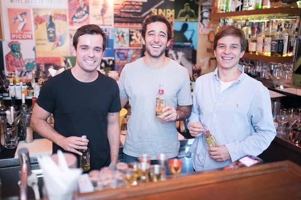 Os sócios João, Felipe e Diogo no lançamento da Sina (Foto: Divulgação)