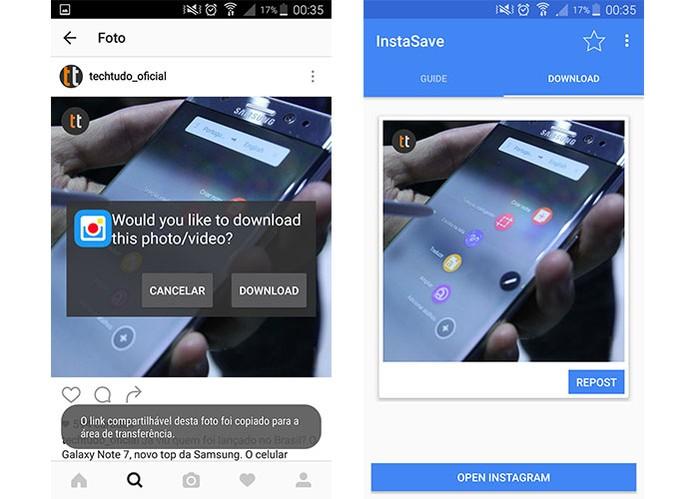 App Instasave permite baixar fotos e vídeos do Instagram de forma rápida (Foto: Reprodução/Barbara Mannara) (Foto: App Instasave permite baixar fotos e vídeos do Instagram de forma rápida (Foto: Reprodução/Barbara Mannara))