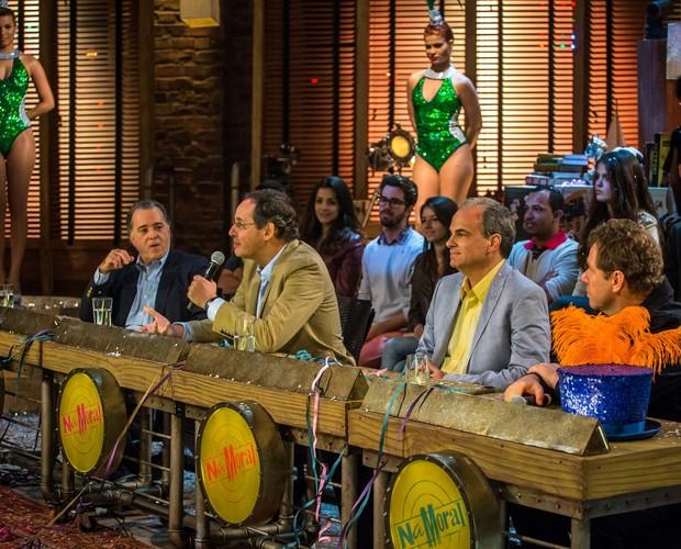 Tony Ramos, Eduardo Gianetti, Alberto Carlos Almeida e Claude Troisgros (Foto: TV Globo / Paulo Belote)