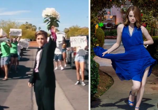 O convite feito pelo adolescente e a atriz Emma Stone (Foto: Reprodução)