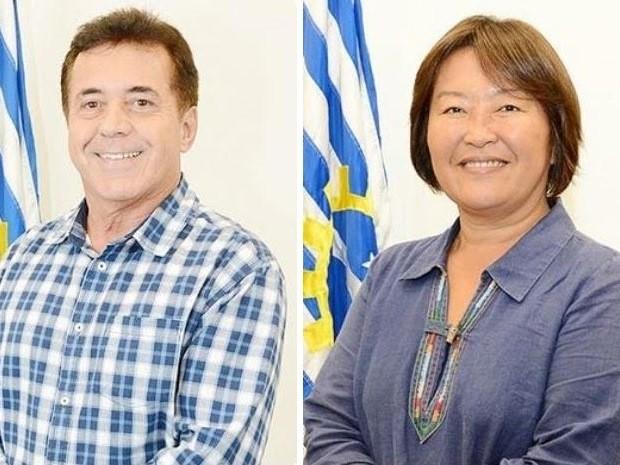 Amélia Naomi e Valdir Alvarenga tiveram prestação de contas da campanha rejeitada (Foto: Arte/G1)