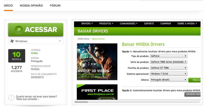 Acesse a página de drivers da Nvidia no TechTudo Downloads (Foto: Reprodução/Taysa Coelho)