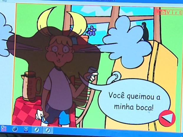 História em quadrinhos explica sobre transferência de calor em jogo da Unesp Araraquara (Foto: Adriano Ferreira / EPTV)