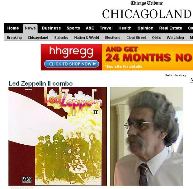 O famoso álbum da banda, lançado em 1969, e o americano Led Zeppelin II, em foto do 'Chicago Tribune' (Foto: Reprodução)