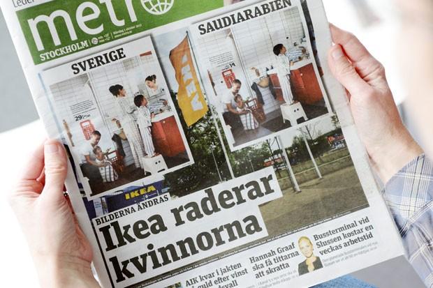 Jornal 'Metro' publicou as imagens polêmicas na Suécia. (Foto: AP)