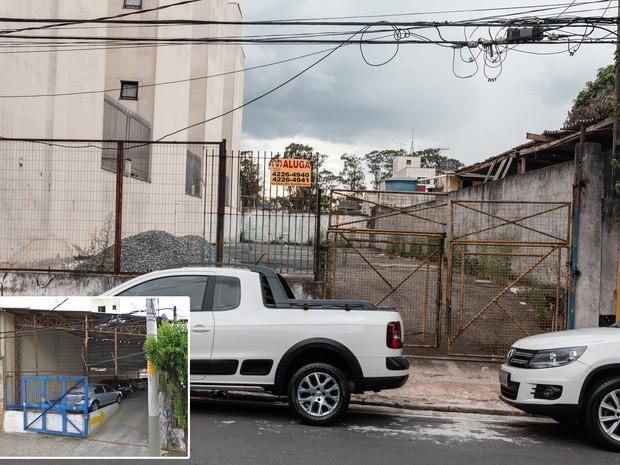 Terreno antes ocupado por estacionamento é esvaziado em avenida de São Caetano, no ABC Paulista (Foto: Marcelo Brandt/G1 e Google Street View)