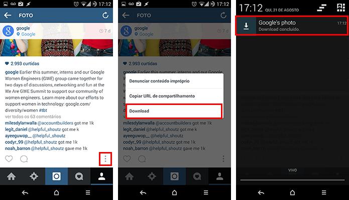 Baixe fotos e vídeos dentro do próprio Instagram (Foto: Reprodução/Paulo Alves)