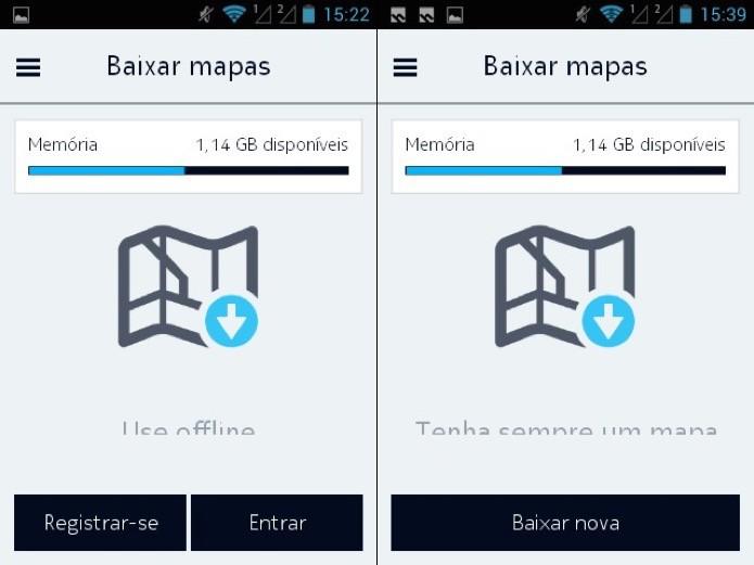 Faça login ou cadastre-se para baixar os mapas (Foto: Reprodução/Helito Bijora)