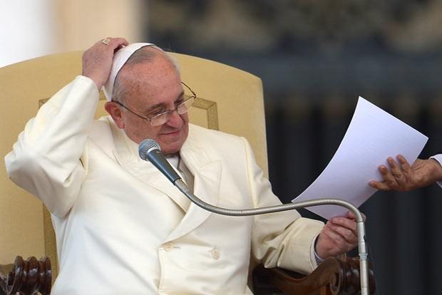 O Papa Francisco durante a audiência desta quarta-feira (15) no Vaticano (Foto: Vincenzo Pinto/AFP)