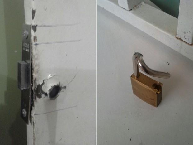 Portas da escola foram encontradas arrombadas Goiânia Goiás (Foto: Arquivo Pessoal)