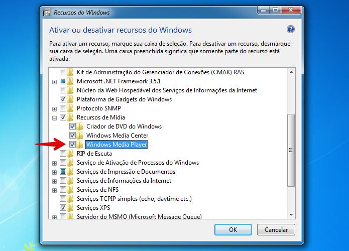 Reinstalando o Windows Media Player (Foto: Reprodução/Helito Bijora)