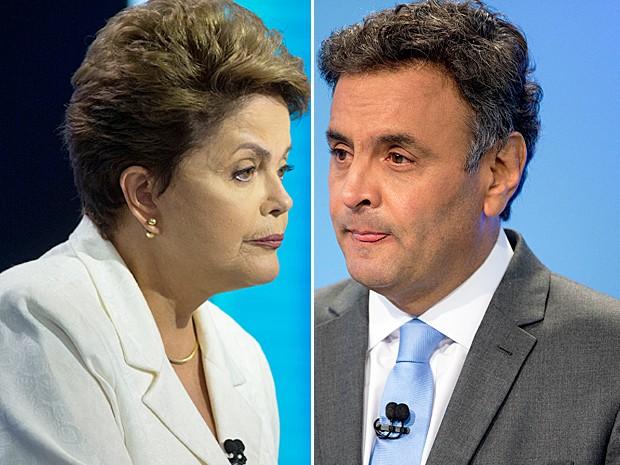 Dilma e Aécio durante debate realizado pela TV Record, em São Paulo, na noite deste domingo (19) (Foto: Andre Penner/AP Photo)