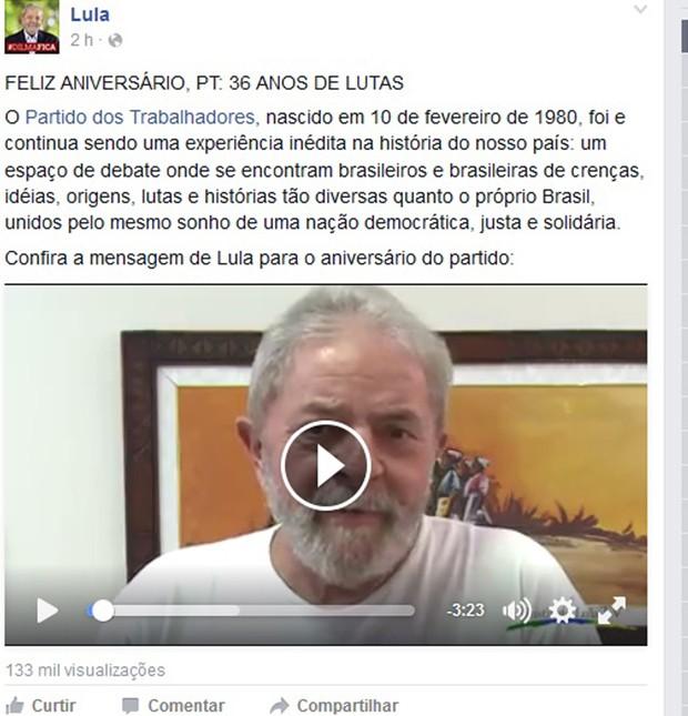 Lula publicou vídeo em seu perfil no Facebook sobre o aniversário do PT (Foto: Reprodução/Facebook)