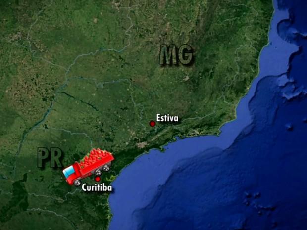 Lote de Morango que saiu de Estiva foi apreendido no Paraná (Foto: Reprodução EPTV)