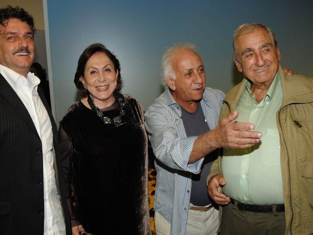 Os atores Werner Schunemann , Aracy Balabanian , Flavio Migliaccio e Elias Gleizer na festa de lançamento da novela 'Passione', em maio de 2010 (Foto: Bob Paulino/TV Globo)