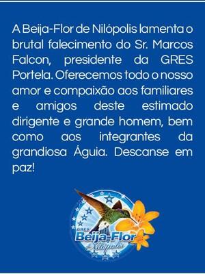 Mensagem de pesar da Beija-Flor sobre morte de Falcon, da Portela (Foto: Reprodução/ Facebook)
