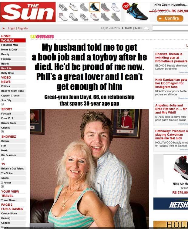 Joan Lloyd, de 66 anos, com o namorado 38 anos mais novo. (Foto: Reprodução/The Sun)