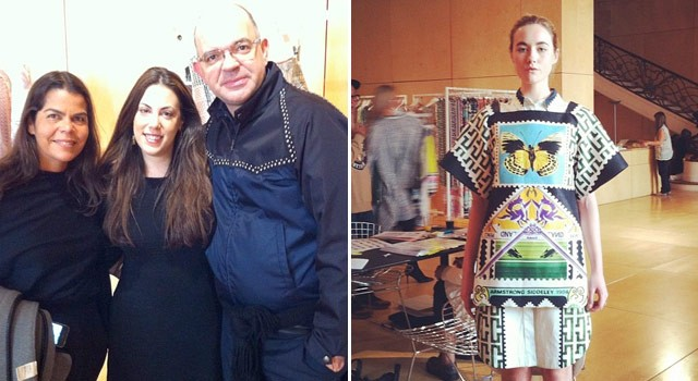 Daniela e Giovanni com Mary Katrantzou; à direita, um dos looks da nova coleção da estilista grega (Foto: Reprodução/Instagram)