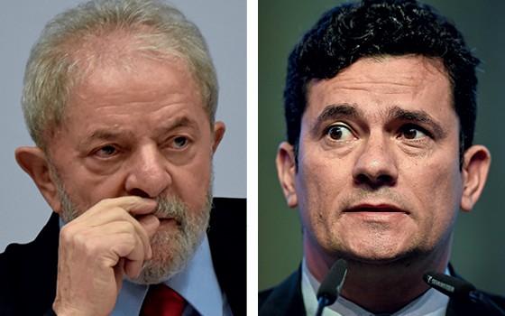 Luiz Inácio Lula da Silva e Sergio Moro (Foto: Mateus Bonomi/Agif/AFP, Patricia de Melo Moreira/AFP)