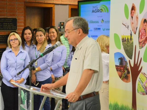 Secretário estadual de Produção e Agricultura Familiar, Fernando Lamas, participou do lançamento do MS Agro (Foto: Anderson Viegas/Do G1 MS)