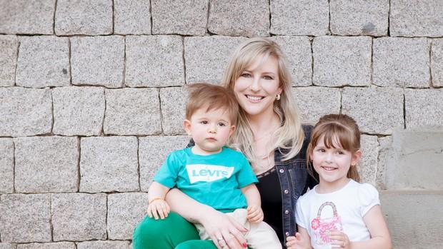 Michelle com os filhos, Melanie e Leonardo (Foto: arquivo pessoal)
