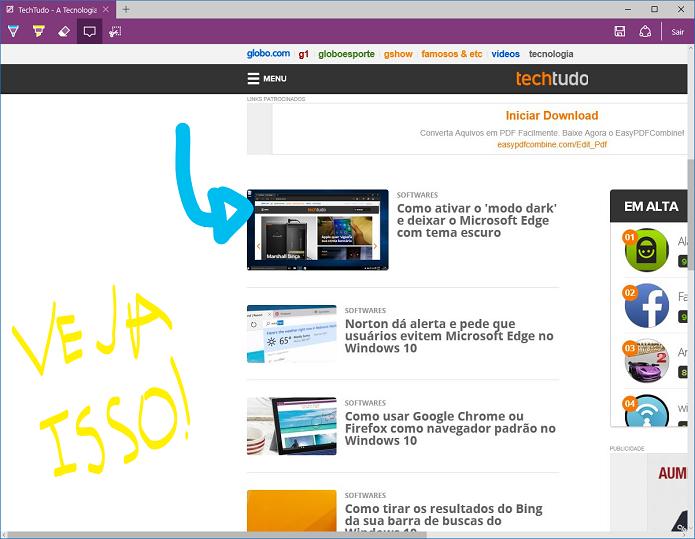 Anotações da Web - Novo recurso do Microsoft edge (Foto: Felipe Alencar/TechTudo)