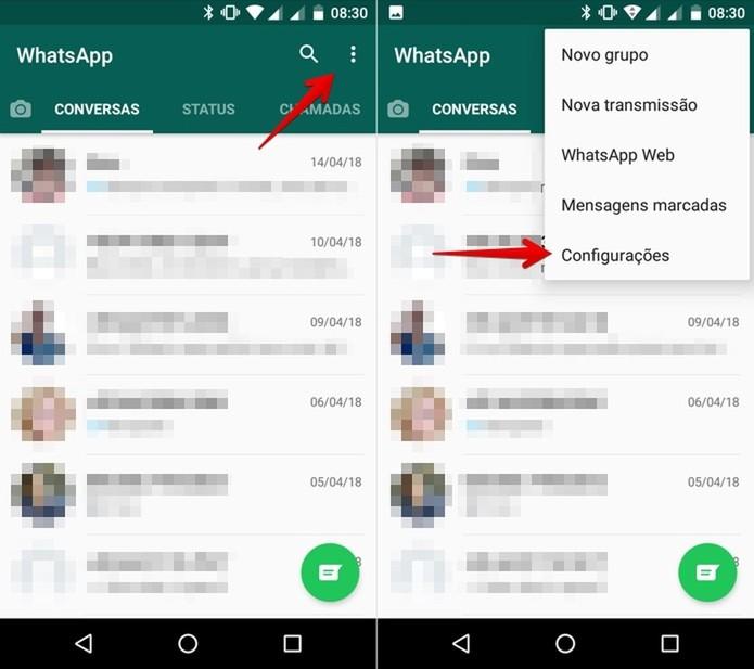 Acesse as configurações do WhatsApp (Foto: Helito Bijora/TechTudo)
