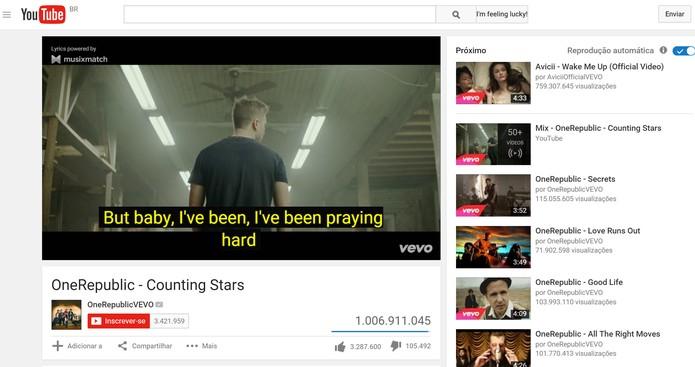 Musixmatch é adiciona letras de músicas aos vídeos do YouTube (Foto: Reprodução/Elson de Souza)