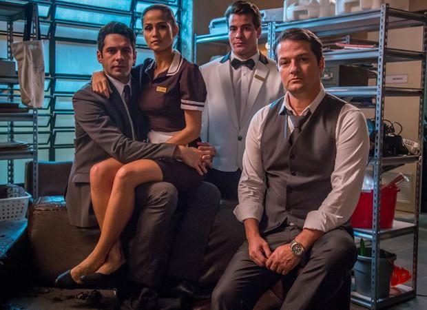 João Baldasserini, Nanda Costa, Marcelo Serrado e Thiago Martins viveram papéis centrais em 'Pega Pega' (Foto: Divulgação/TV Globo)