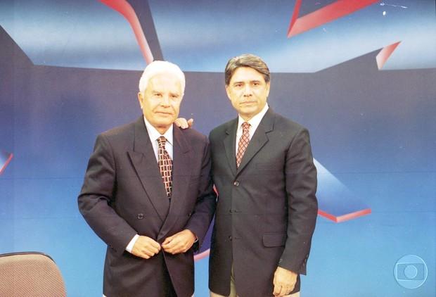Cid Moreira e Sérgio Chapellin em 1996 (Foto: TV Globo/CEDOC)