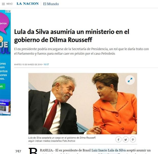 Para La Nación, Lula assumiria ministério para ter foro privilegiado (Foto: Reprodução/La Nación)