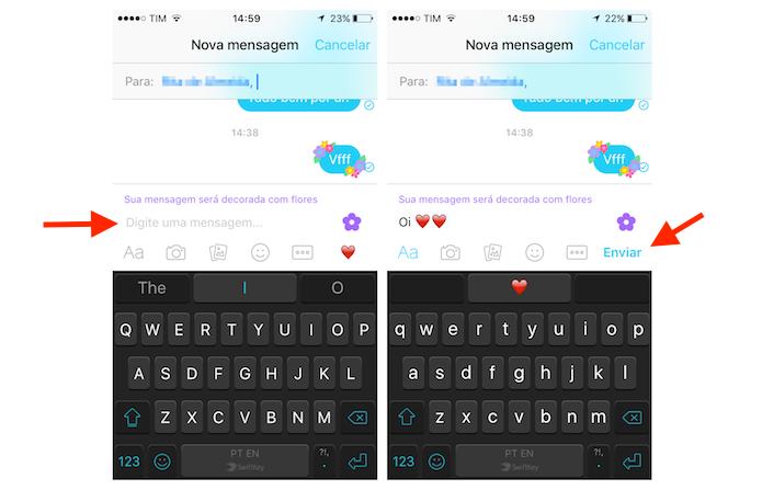 Enviando uma mensagem com flores para um contato do Facebook Messenger pelo iPhone (Foto: Reprodução/Marvin Costa)