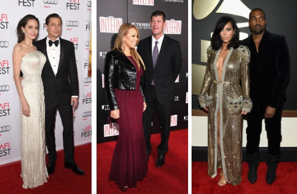 Brad Pitt, Angelina Jolie, Mariah Carey, James Packer, Kim Kardashian e Kanye West (Foto: Getty Images)