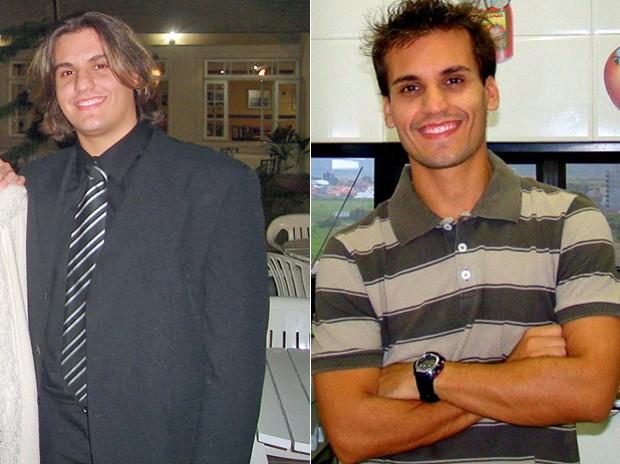 O jovem de Santa Catarina resolveu mudar os hábitos após uma viagem à Argentina; fotos mostram antes e depois (Foto: Arquivo pessoal)