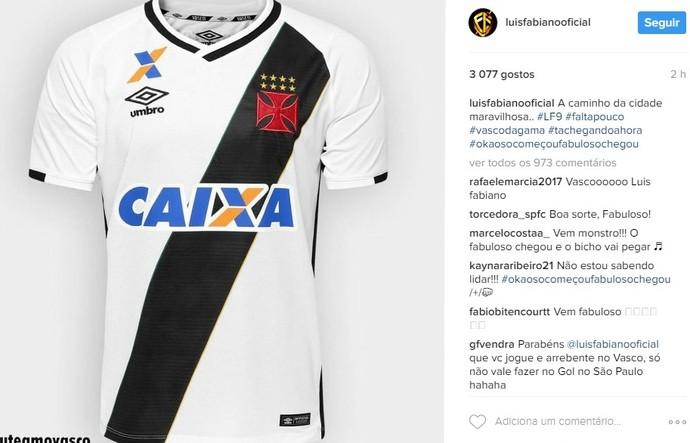 Luis Fabiano camisa do Vasco (Foto: Reprodução/Instagram)