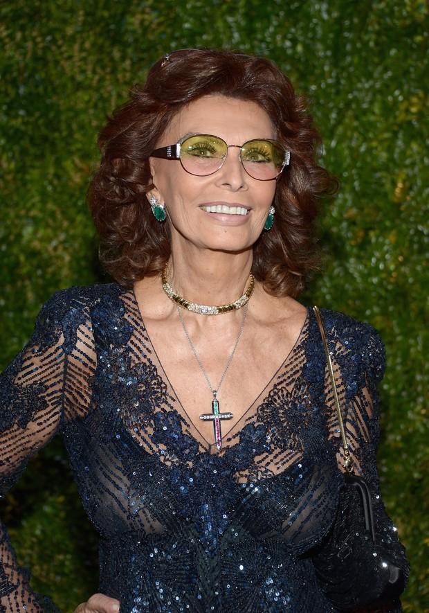Sophia Loren em evento em Nova York, nos Estados Unidos (Foto: Michael Loccisano/ Getty Images)