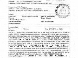 Vítima registrou queixa na Polícia Civil (Foto: Acervo Pessoal/Jéssica Pimentel da Silva)