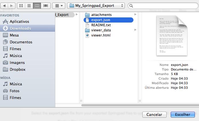 Selecione o arquivo com dados exportados do Springpad (Foto: Reprodução/Helito Bijora)