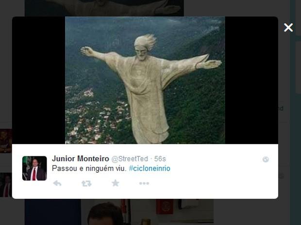 Meme brinca com o Cristo Redentor (Foto: Reprodução / Twitter)