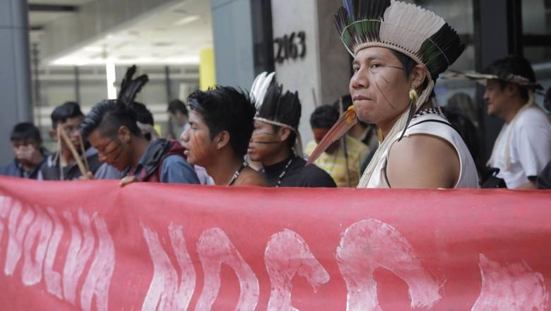 indios-guarani-protesto (Foto: Comissão Guarani Yvyrupa)
