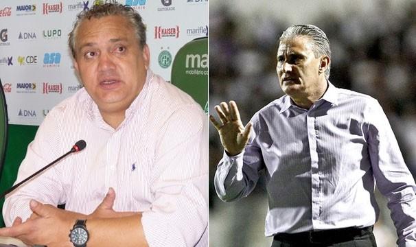 Branco, o comandante do Guarani e Tite, o técnico do Corinthians (Foto: Warley Menezes / Divulgação / Daniel Augusto Jr. / Ag. Corinthians)