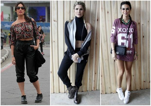 estilo para Lollapalooza_Giselle Itié, Julia Faria e Thaila Ayala (Foto: Orlando Oliveira/Agnews/Celso Tavares/EGO)