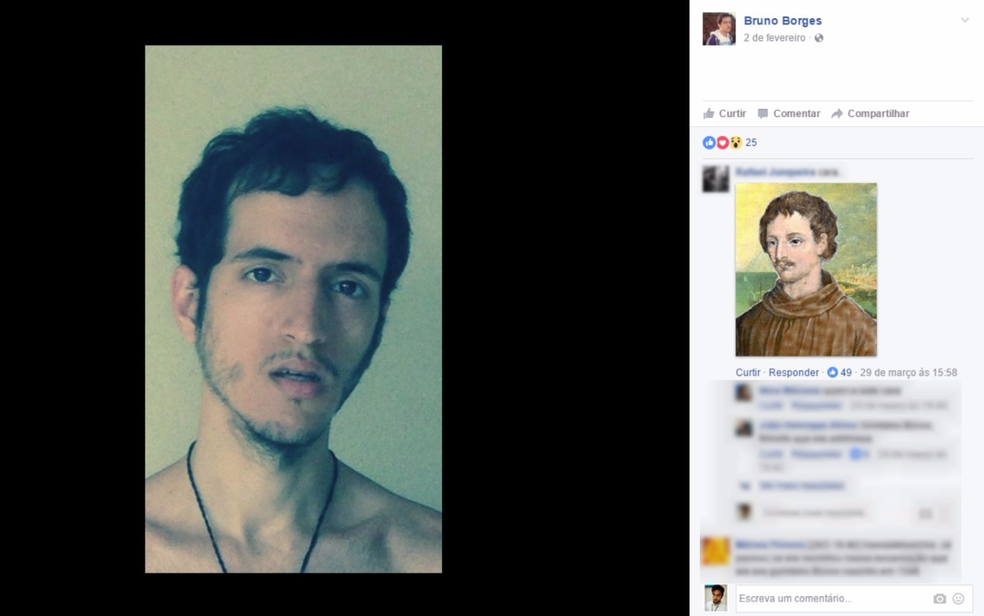 Bruno Borges's friends talk about his similarity with Giordano Bruno (Photo: Divulgação / Facebook)