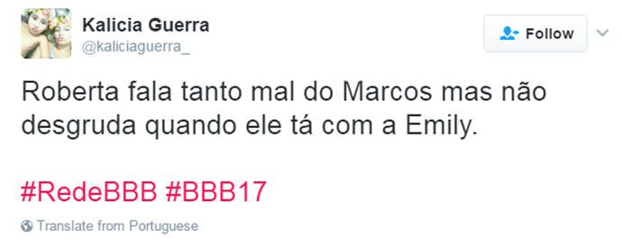 Tweet Treta Marcos e Roberta (Foto: Reprodução da Internet)