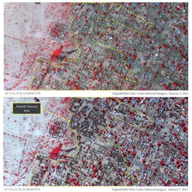 Imagem divulgada pela Anistia Internacional mostra o antes e o depois do Boko Haram a Baga, Nigéria. Na imagem de baixo, é possível observar estruturas queimadas pelo grupo terrorista (Foto: DigitalGlobe/Anistia Internacional)