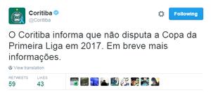 Coritiba, Primeira Liga (Foto: Reprodução/Twitter)