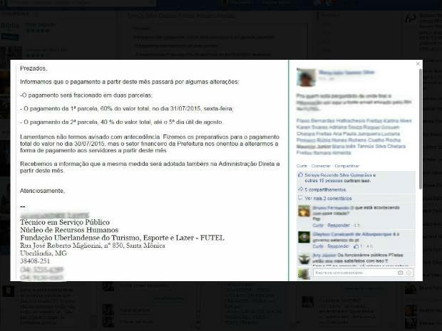 Print pagamento dos servidores da Prefeitura de Uberlândia 3 (Foto: Reprodução/ Facebook)