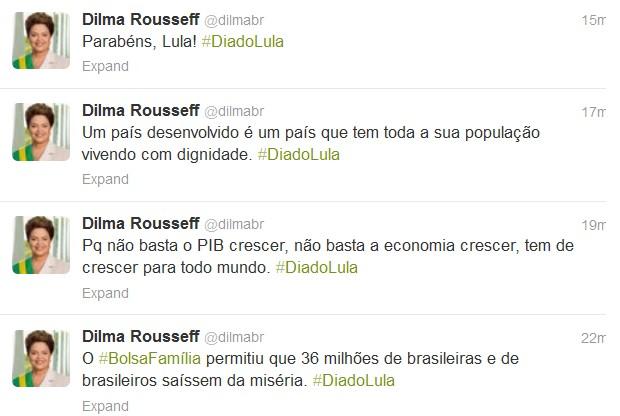 No Twitter, Dilma lembrou do aniversário do ex-presidente Lula (Foto: Reprodução/ Twitter)